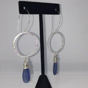 Jewelry - Sterling Silver African Kyanite Hoop Drop/Dangles